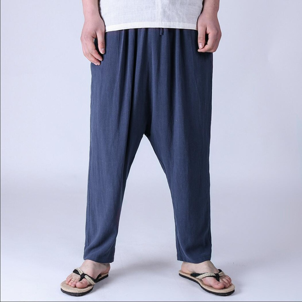 2016 spring and summer men's linen hanging crotch pants ...