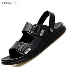 2019 new men's sandals shoes men leather footwear summer beach sandals solid casual fashion sandals for men platform shoes work цены онлайн