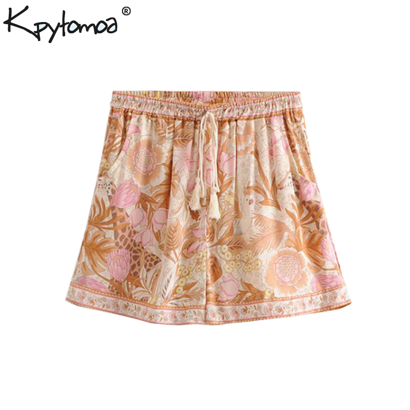 Boho Chic Summer Vintage Floral Print Tassel   Shorts   Women 2019 Fashion Elastic Waist Drawstring   Short   Pants Mujer
