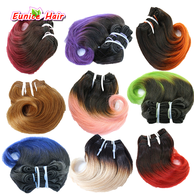 Hair-Extension Weave-Bundles Curly Brazilian-Hair Body-Wave Ombre-Color 8inch 100g 4pcs