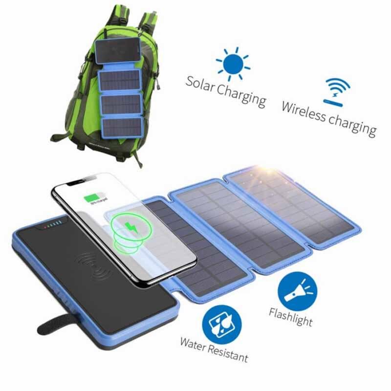Chargeur solaire sans fil pliant batterie étanche 20000 mAh externe portable batterie externe sans fil pour samsung huawei mate 20 pro
