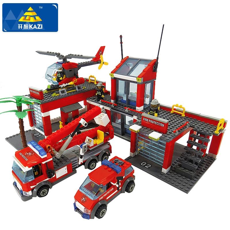 KAZI 8051 Building Blocks Fire Station Model Blocks Compatible Legoe City Bricks Block ABS Plastic Educational Toys For Children