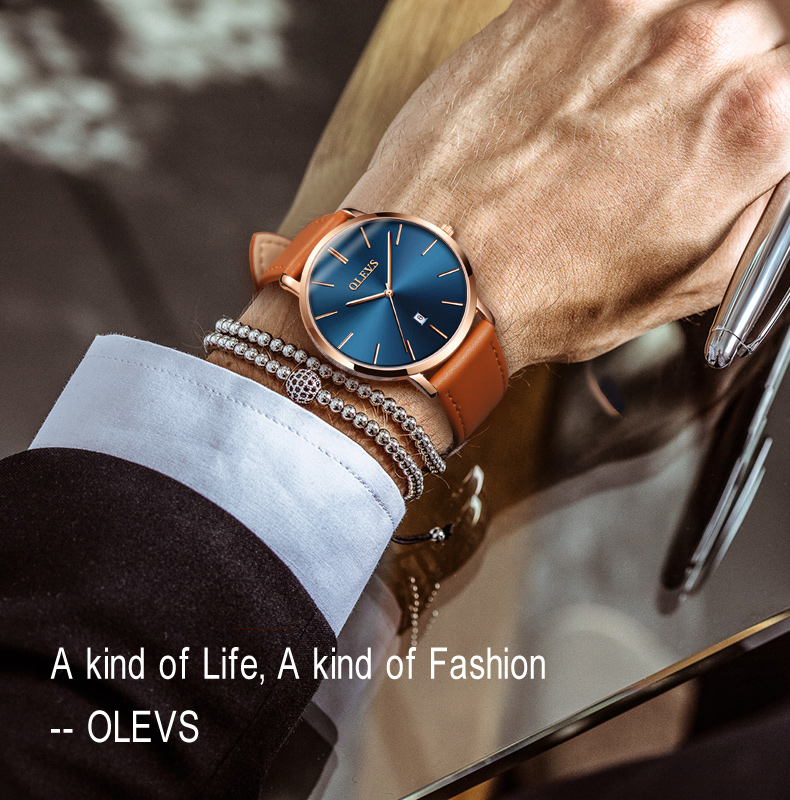 Men luxury brand quartz watches leather strap minimalist ultra-thin waterproof watch fashion wrist watch with high quality 15