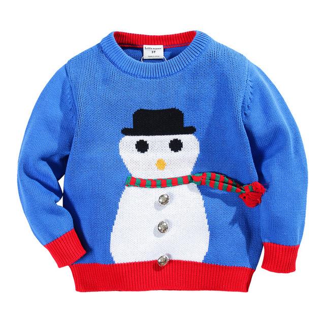 Little maven nova marca meninos primavera outono inverno o-pescoço pulôver de malha suéteres casuais de algodão bonito do natal do boneco de neve
