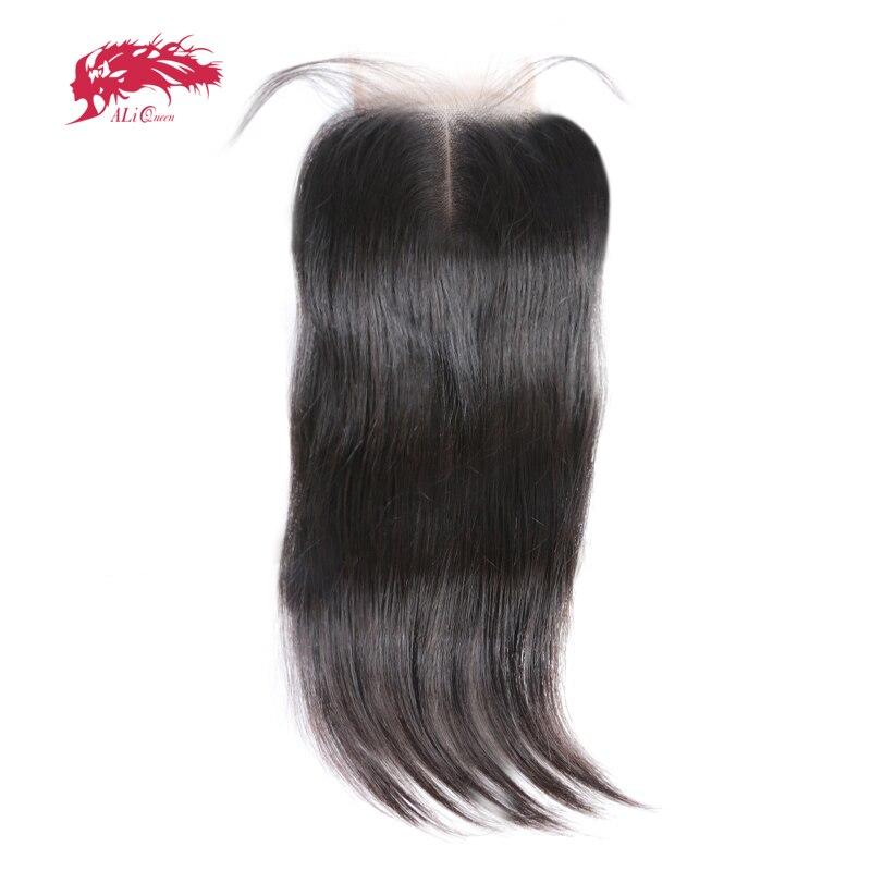 Али Queen Hair продуктов прямо бразильский волос Девы швейцарской закрытия шнурка средняя часть естественный Цвет 10 до 20 100% человеческих волос