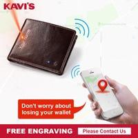 KAVIS Smart Wallet High Quality RFID Men Genuine Leather Anti Lost Intelligent Bluetooth Purse Male Card Holders Fashion for boy