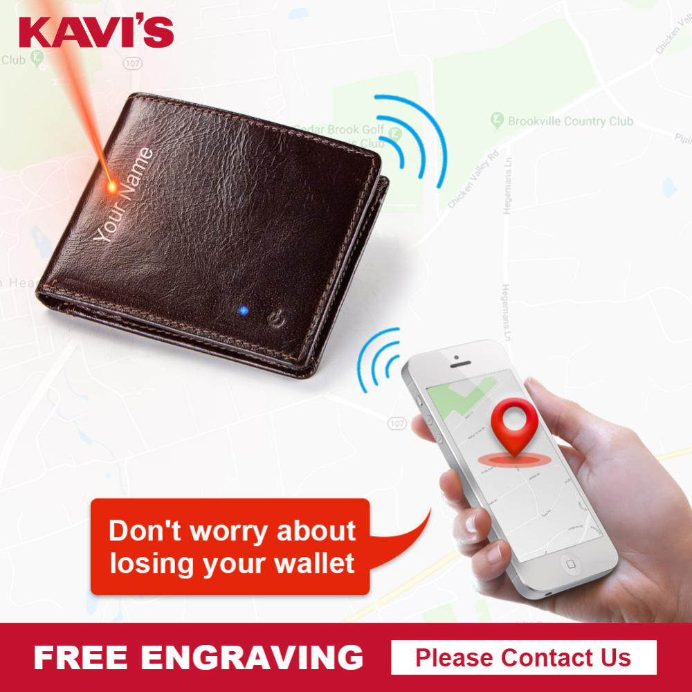 KAVIS Smart Wallet High Quality RFID Men Genuine Leather Anti Lost Intelligent Bluetooth Purse Male Card Holders Fashion for boy