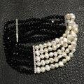 Черный и белый ювелирные изделия braclet pearl браслет кристалл пресной воды жемчужина упругие многослойные женщины ювелирные изделия 18 СМ