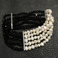 black and white fashion jewelry braclet pearl crystal bracelet fresh water pearl elastic  multi layer women jewelry 18CM