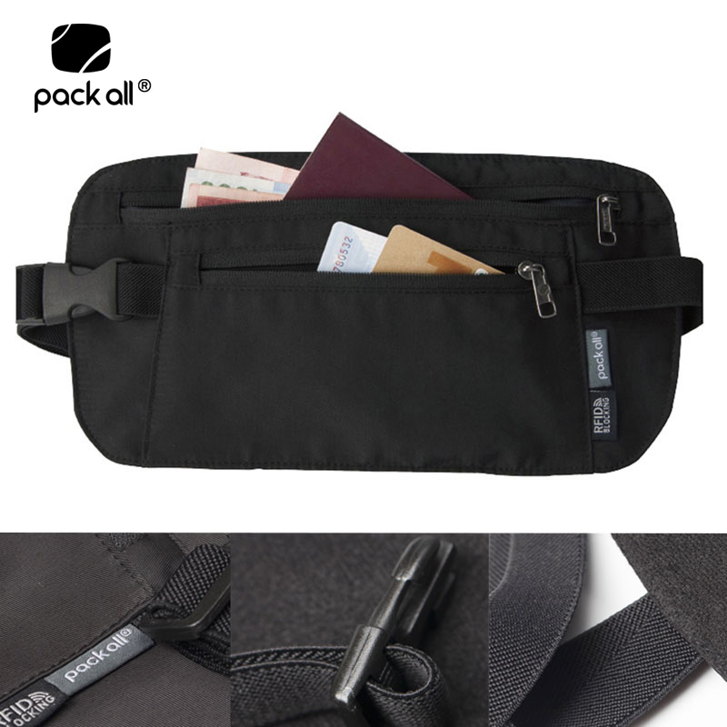 Pack All Unisex RFID Blocking Money Belt Bag Pouch Men Travel Phone Waist Bag Fanny Pack Bags Women Passport Card Money Holders