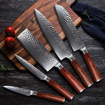 Rosewood Chef Knifes Damascus