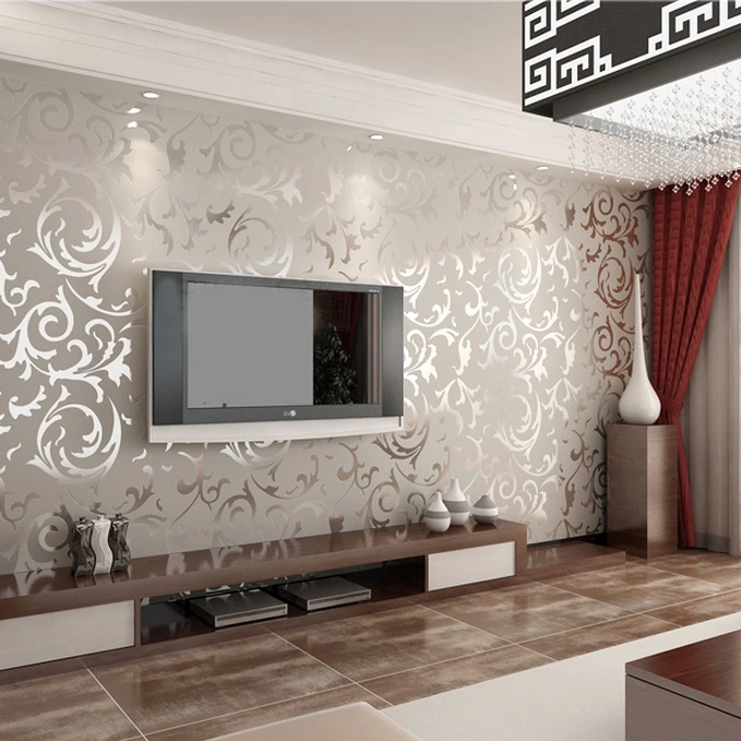 ... New Designer Flocking Textured Grey Color Wallpapers Discount Now For Living  Room Bedding WP05 ...
