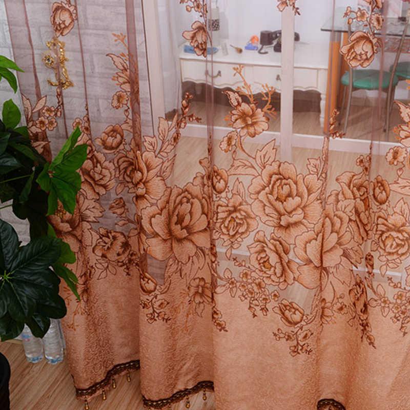 Новый тюль в просвечивающие занавес окна жаккард вышитые volie занавески для гостиной спальни панели