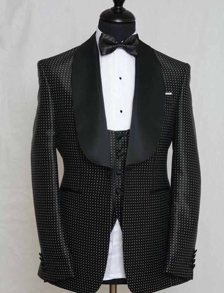 Moderno esmoquin de un botón con puntos negros para novio mantón solapa padrinos de boda trajes de 3 piezas para hombre (chaqueta + Pantalones + chaleco + corbata) NO: 271