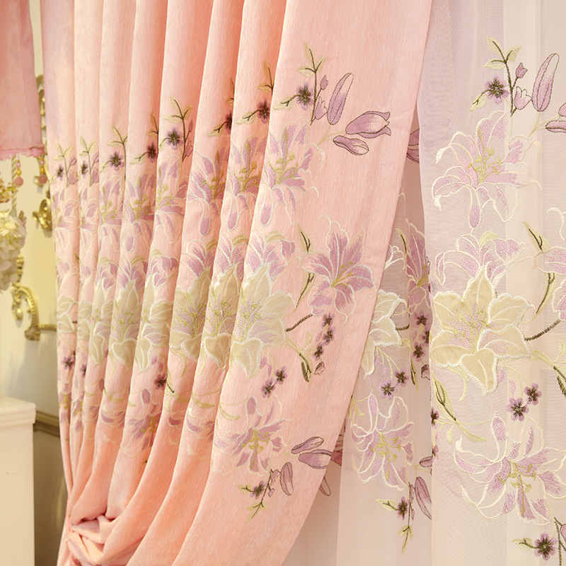 Awesome High Grade Blackout Eyelets Curtains For Bedroom Embroidered Pink Floral  Curtains For Living Room Sheer Tulle Drapes AG060u00263 In Curtains From Home U0026  Garden ...