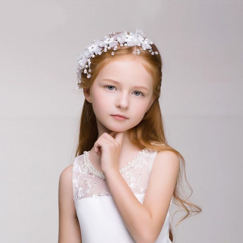 Sweet Princess Headband Woman Flower Hairbands Pearl Wreath Girls Headwear Kids Hair Wedding Party Accessories