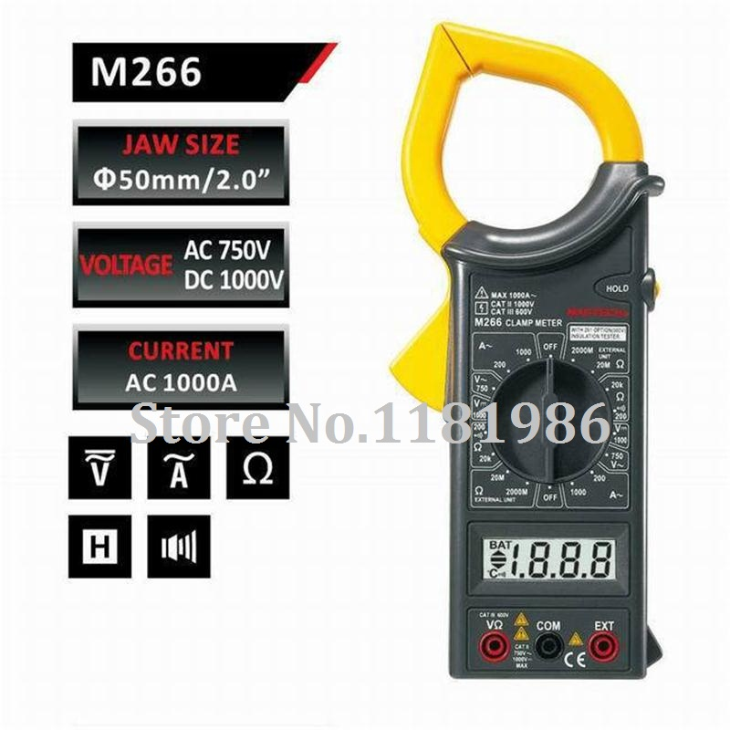 MASTECH M266 Digital Current Clamp Meter insulation Tester AC DC Voltage Resistance Frequency Test and Temperature measurement