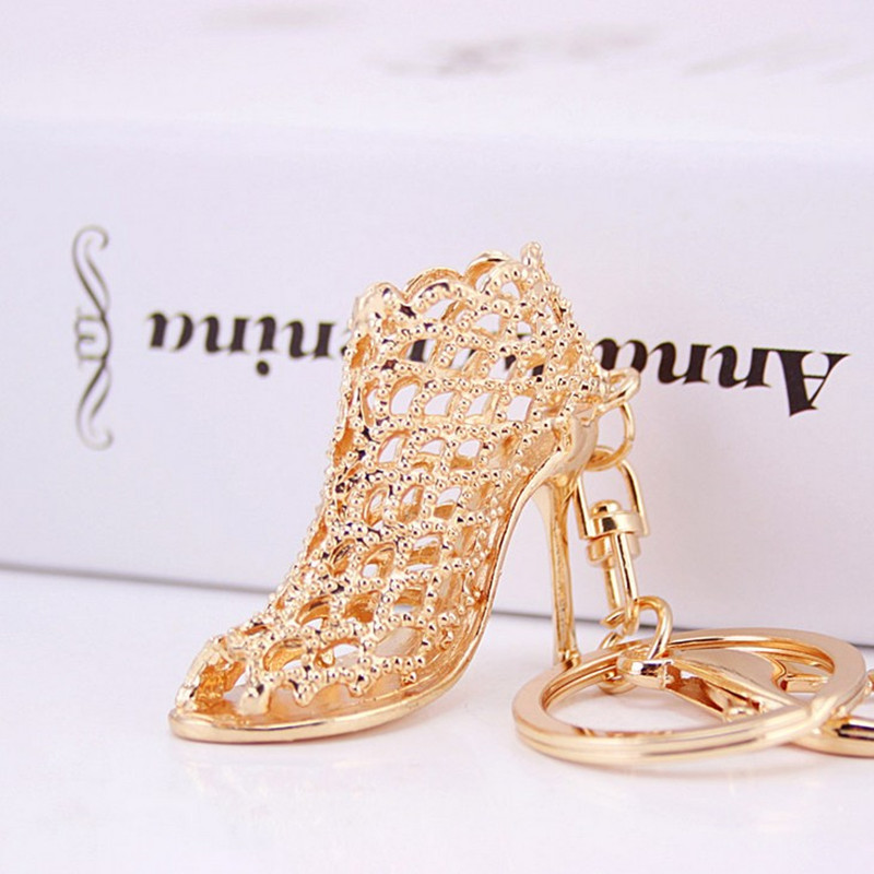 Creative Hollow High-heeled Shoe Key Chain Ring Metal Keychains - Fashion Jewelry