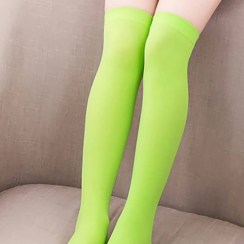 322694a4207 1 Pair Women Sexy Over The Knee Socks Thigh High Stockings Acrylic Solid  Color Thin Long Socks New For Girls