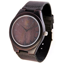 New Fashion Men's Personality Wooden Watch Top Black Sandalwood Wood Watch Genuine Leather Strap Import Movement Quartz Watch