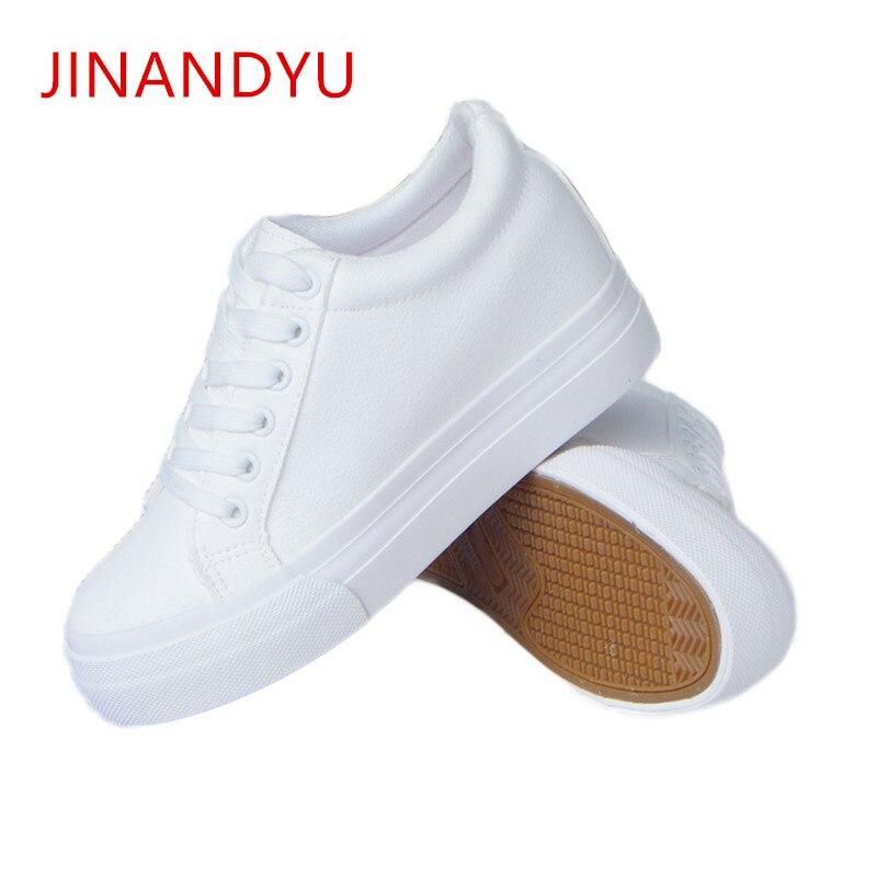 Zapatillas blancas para mujer, zapatillas de plataforma con cuña para adelgazar, zapatos de plataforma informales de 6cm para mujer 4