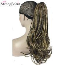 StrongBeauty צמת שיער גלי סינטטי קליפ קוקו שרוך/על תוספות שיער Hairpieces 15 צבעים