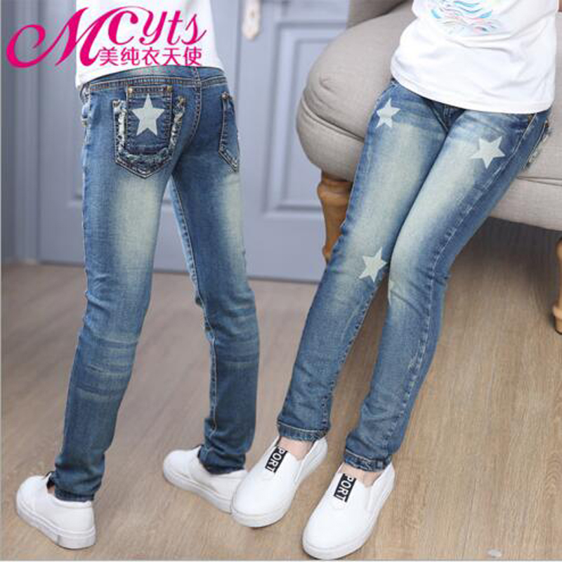 Meisjes broek volledige lengte Jeans meisjes kids broek borduurwerk jeans denim casual broek 5-14Y kinderen broek uitloper gratis verzending