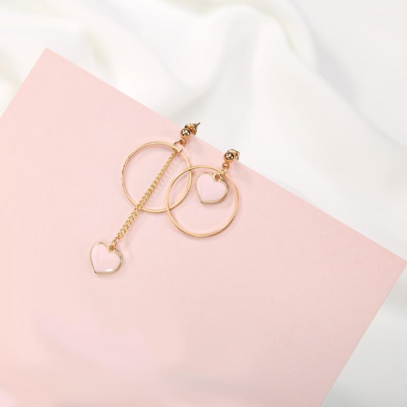 KARASU Womens Fashion Personality Asymmetrical Drop Earring Big Circle Love Heart Drangle Earrings for Girl Party Jewelry Gift