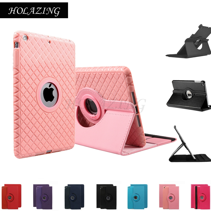 HOLAZING 360 Rotation Premium PU Leather & Soft Silicone Inner Shell Case For iPad Mini 4 Smart Auto Sleep Wake up Cover