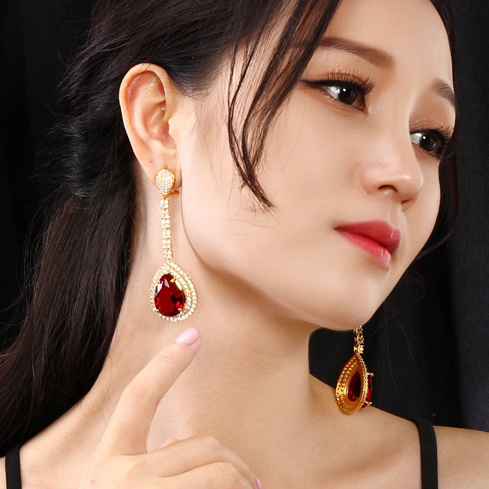 Very large water drop earring Gold color jewelry big cubuic zirconia stone jewellery big earrings for wedding party smile ks 805 ножеточка