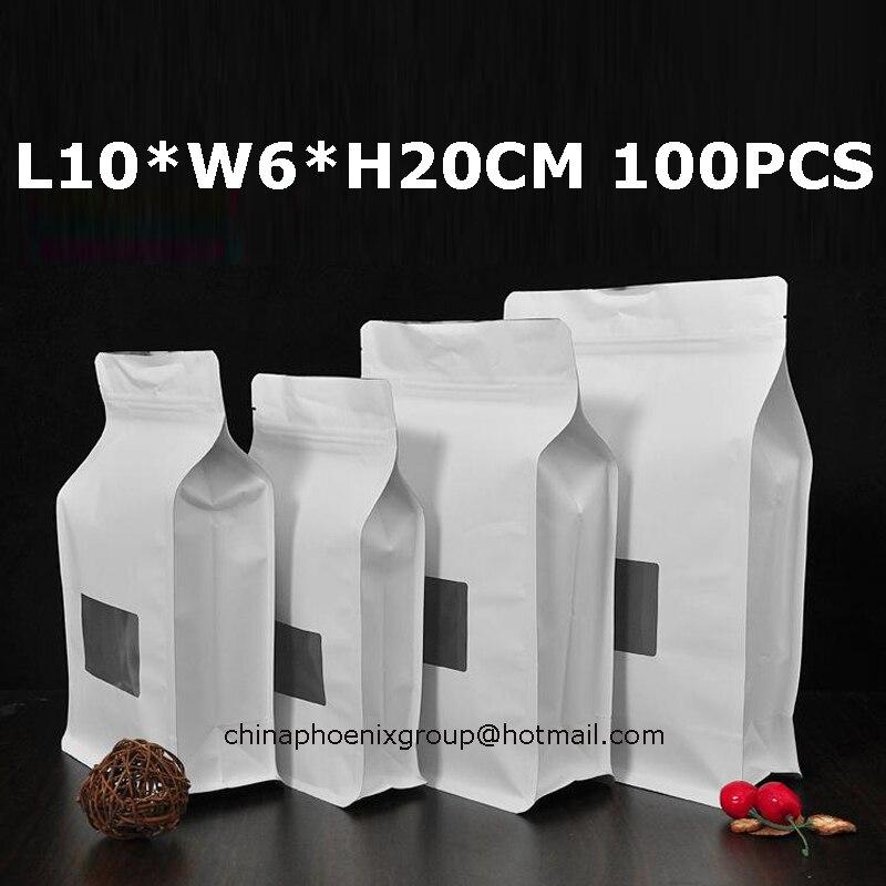 Livraison gratuite de haute qualité kraft brun fenêtre sacs 10*20 + 6 cm, 100 pièces Kraft papier sac alimentaire fenêtre boîte sacs de noix thé sacs pack