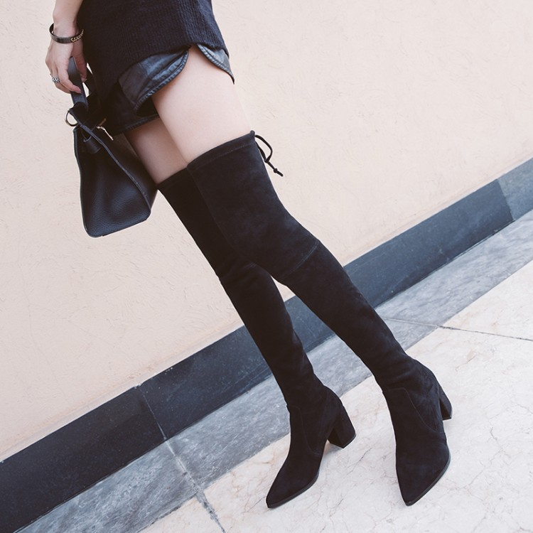 High heel knee, elastic boots, 2017 women, autumn and winter, new products. bfdadi 2018 new autumn winter high