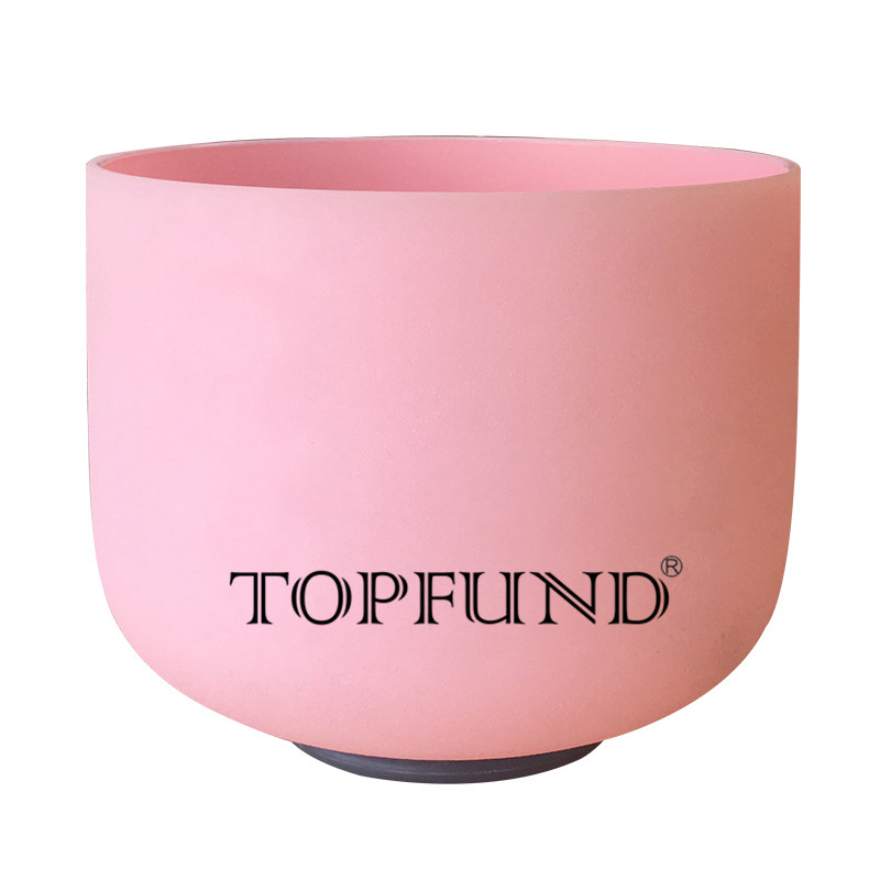 TOPFUND Pink Colored Frosted Quartz Crystal Singing Bowl F note Heart Chakra 10 inch-local ship to USA and EUR topfund red color perfect pitch c adrenals chakra frosted quartz crystal singing bowl 10 with free mallet and o ring