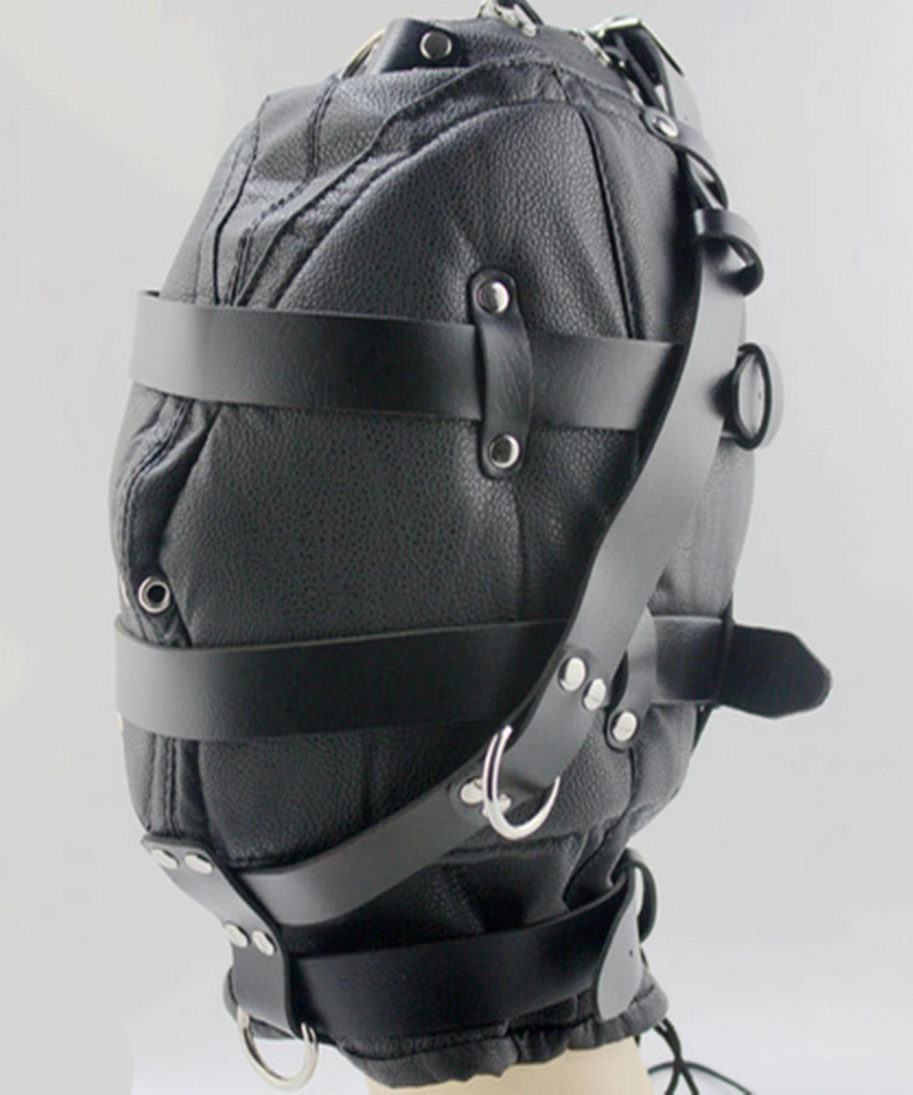 Bdsm PVC Leather Hood Mask Headgear In Adult Games For Couples , Fetish Sex Products Toys For Women And Men - AW9 adult games removeable fun headgear eye mask goggles penis mouth bite combination of sex toys