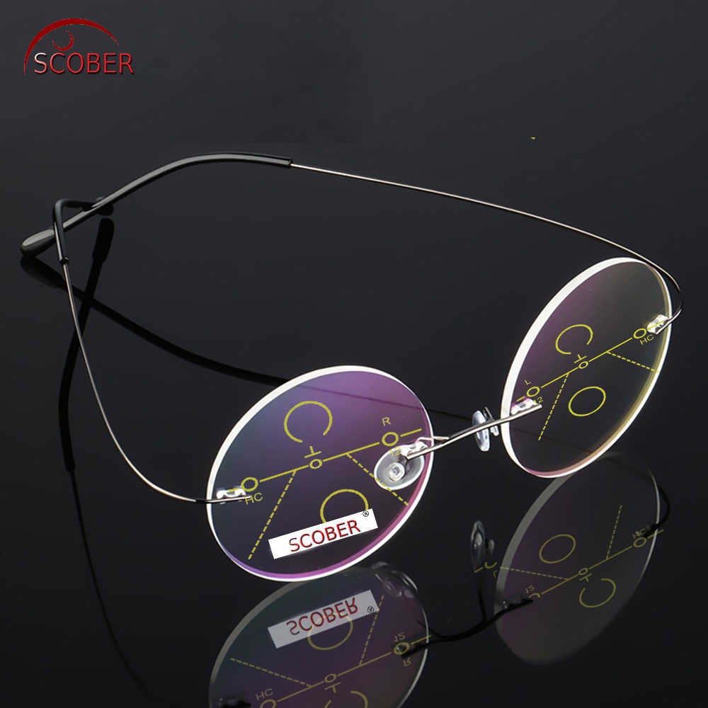 = SCOBER = Rimless Ultra-light Round Progressive Multifocal Reading Glasses MEN TITANIUM ALLOY See Near And Far ADD +1 To +4