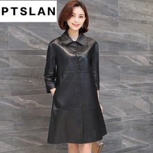 Ptslan Genuine Leather Jacket Women Top Fashion New Plus Size Slim Ladies Long Trench Coat Female
