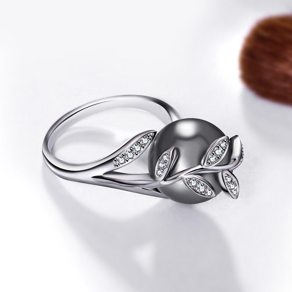 Rozā zelta gredzens ar pelēku pērli sievietēm Leaf Trendy - Modes rotaslietas - Foto 5