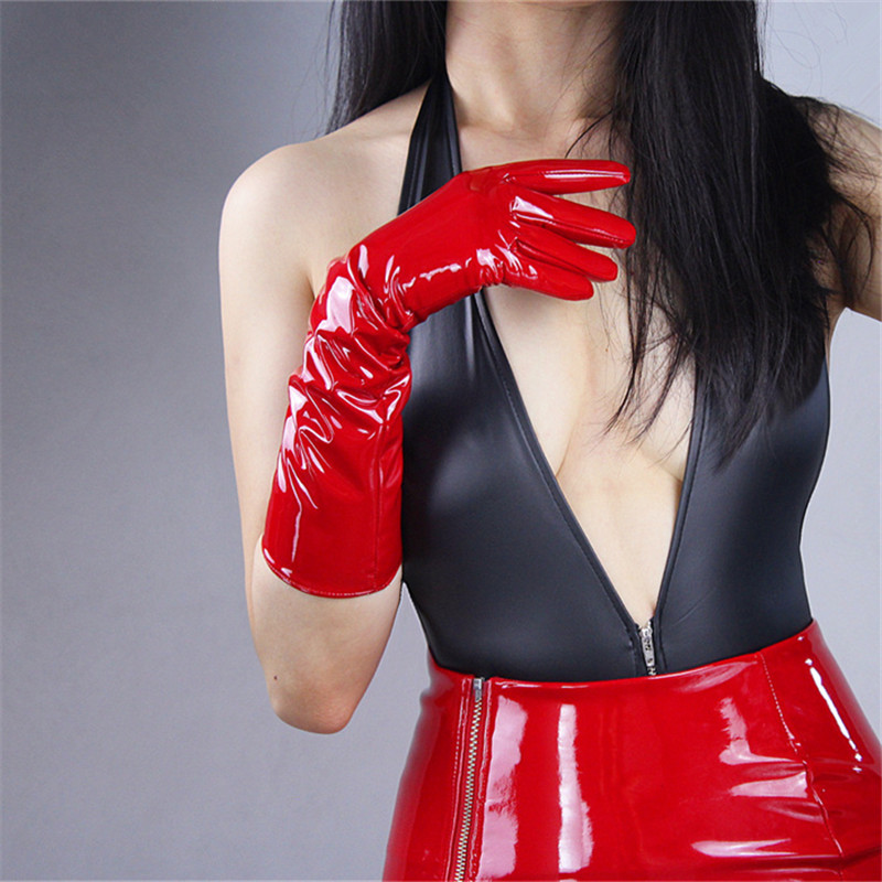 40cm Patent Leather Long Gloves Bright Red Black Long PU Emulation Leather Warm Slim Hand Bright Leather Mirror Female WPU10-40