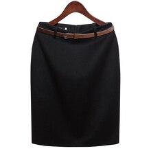 CWLSP S-3XL Plus Size Winter Autumn Wool Pencil Skirt Women's Formal OL Wear to work Medium-Length High Waist Skirt with Belt