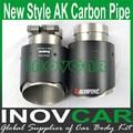 1 pcs IN63mm OUT101mm Carro Styling de Alta Qualidade Dicas Finais Tubos Akrapovic Escape Fibra De Carbono Carro Para Universal de Escape de Carbono dicas