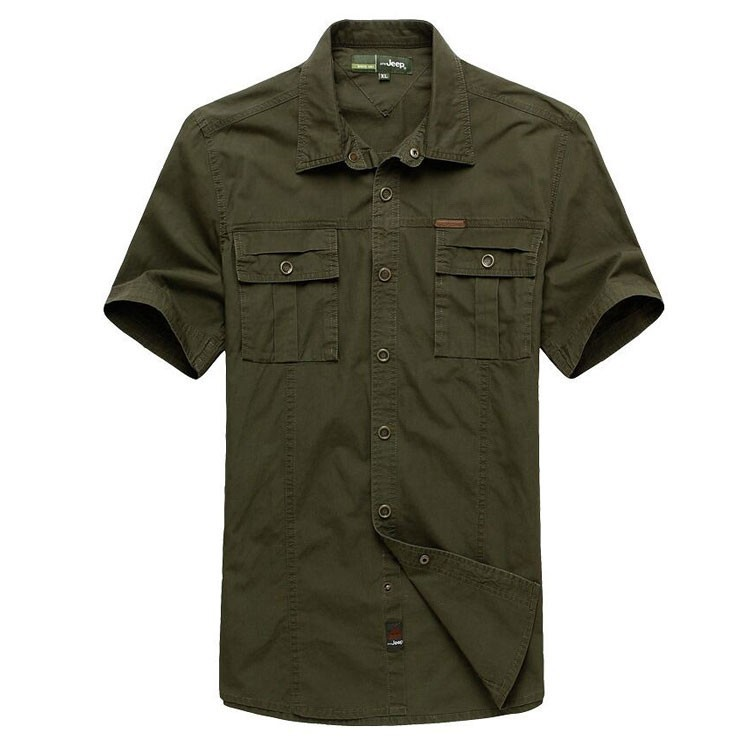 Plus Size XXXXXL Summer Men\'s 100% Cotton Shirts Solid Color Dress Short Sleeve Shirts Casual Outdoor Man Brand AFS JEEP 5003 (4)