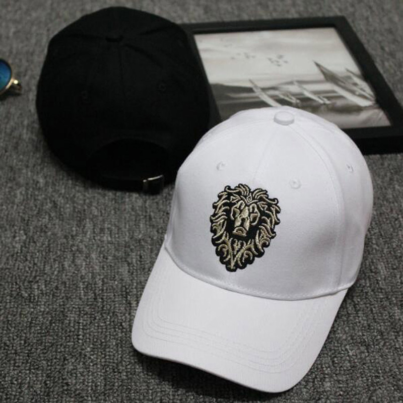Lion Embroidery Pattern Baseball Cap Women Men Solid Color Cotton Hat Unisex Fashion Casual Adjustable Sunscreen Caps CP0115  (1)