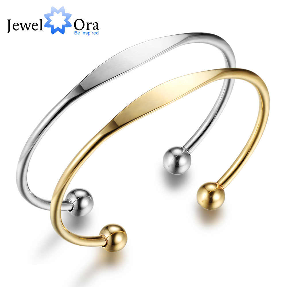 New Women Stainless Steel Bracelet Bangles Gold Silver Colour Open Cuff Bangle Fashion Bangles Gift JewelOra BA101734
