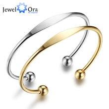 Pulsera de acero inoxidable para mujer, brazalete abierto de acero de color dorado, regalo, joyería BA101734