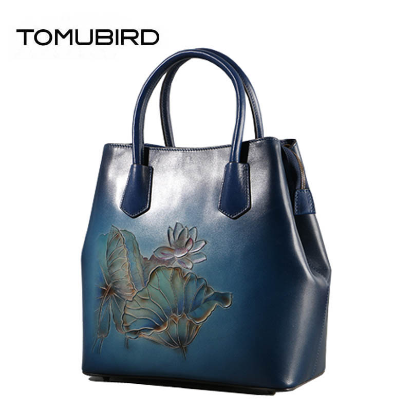 TOMUBIRD 2018 new superior Cowhide Fashion art bag luxury handbags Hand carved designer tote women genuine leather handbags tomubird new superior cowhide leather embossing flower brand women tote fashion luxury women genuine leather handbags