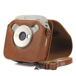Image 5 - Fujifilm Instax kare SQ10 SQ20 anında Film fotoğraf kamerası siyah/bej/kahverengi PU deri taşıma çantası ile omuz askısı