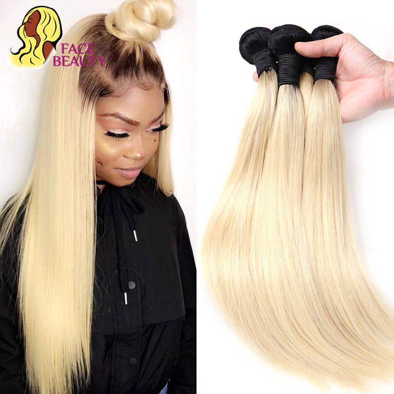 Face Beauty 1B 613 Ombre Blonde Brazilian Straight Hair Bundles 2 Tone Dark Roots Platinum Remy Human Hair Weave 1/3/4 Bundles