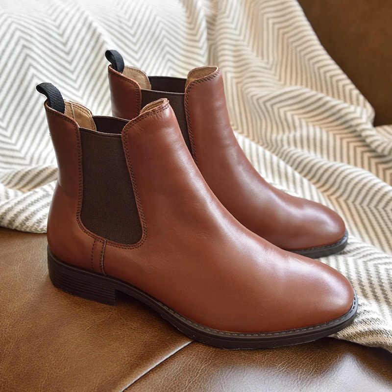 BeauToday Chelsea çizmeler kadın hakiki dana derisi deri artı boyutu sonbahar kış moda marka ayak bileği ayakkabı el yapımı 03025