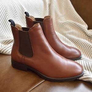 Image 2 - BeauToday تشيلسي أحذية النساء جلد العجل الحقيقي حجم كبير الخريف الشتاء موضة العلامة التجارية حذاء قصير اليدوية 03025