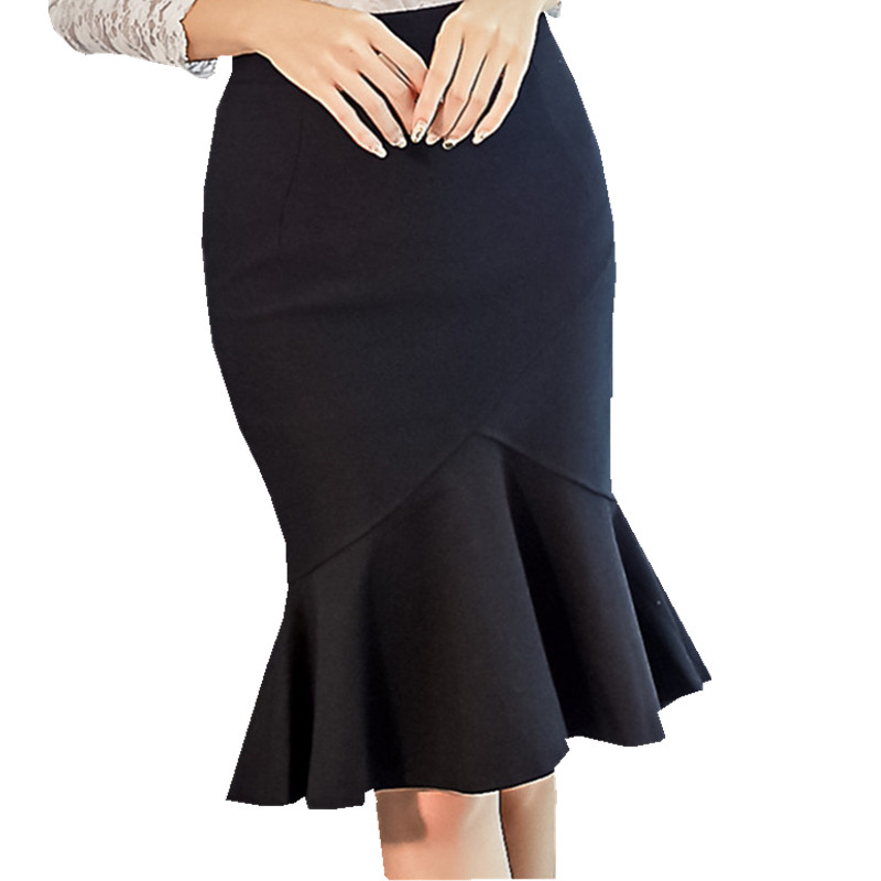 Limited Promotion 5 XL Sexy Ruffles Mermaid Bodycon Bandage Skirts Women Evening Party Knee-length Club Skirts Plus Size 8987